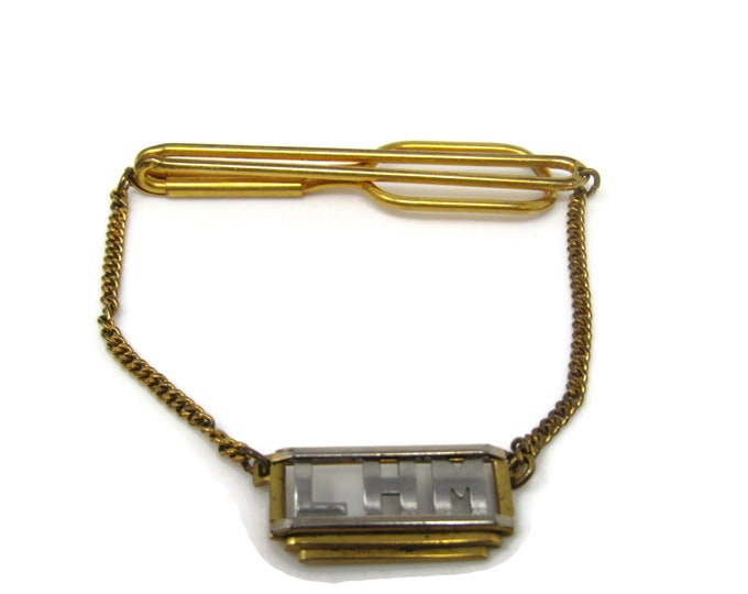 LHM Chain Art Deco Tie Bar Clip Vintage Gold Tone Stand Out w/ Style Fit In with Class