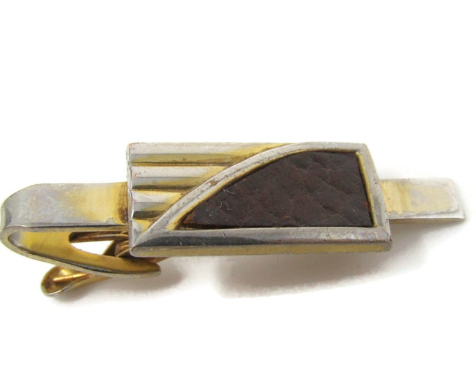 Art Deco Leather Tie Bar Clip Vintage Gold Tone Stand Out w/ Style Fit In with Class