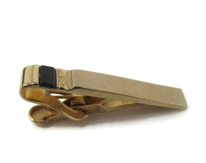 Black Accent Textured Body Tie Bar Clip Vintage Gold Tone Stand Out w/ Style Fit In with Class