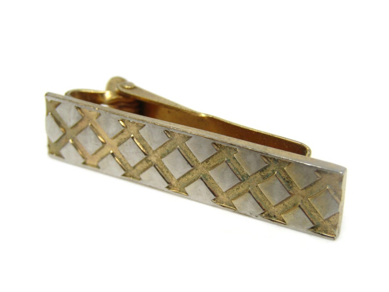 Crossed Lines Fence Design Tie Bar Clip Gold Tone Stand Out w Style Fit In with Class