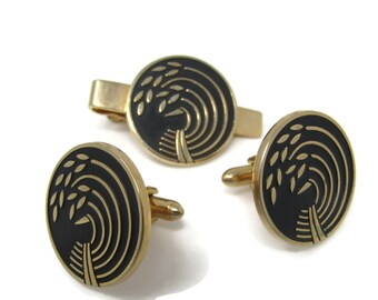 Modernist Wheat Bundle Men's Jewelry Set Cufflinks Tie Bar Clip: Vintage Gold Tone - Stand Out from the Crowd with Class