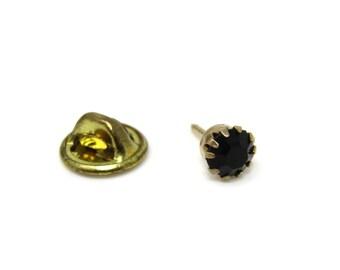 Black Jewel Tie Tack Pin Vintage Men's Jewelry Nice Design