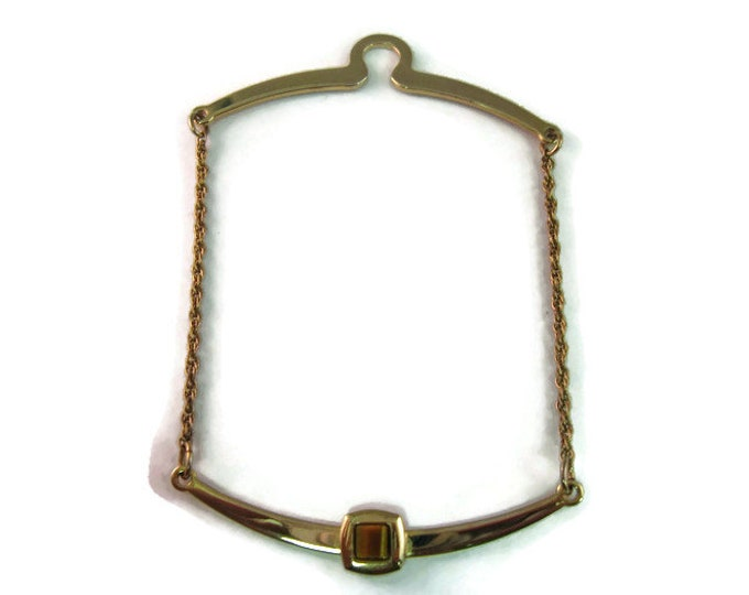 Vintage Men's Tie Collar Bar Button Hook Jewelry: Very Nice Tigers Eye Gold Tone Hanging Chain Design