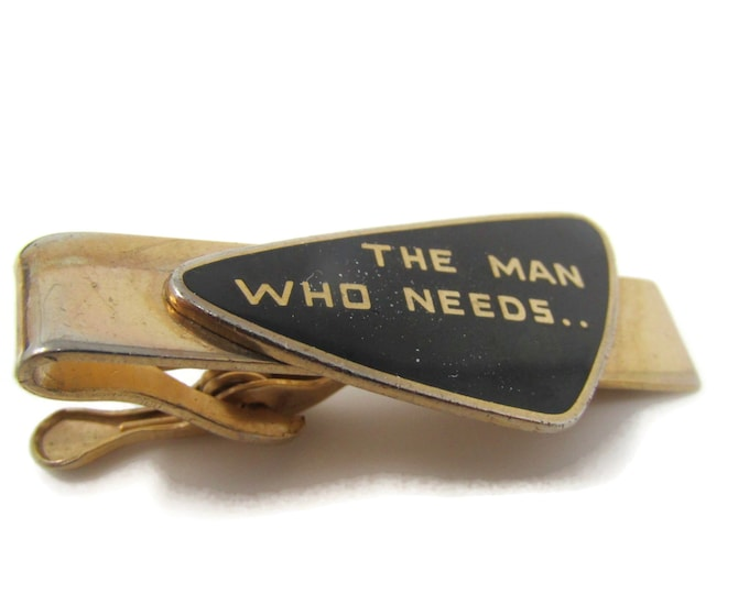 The Man Who Needs... Tie Bar Clip Vintage Gold Tone Stand Out w/ Style Fit In with Class