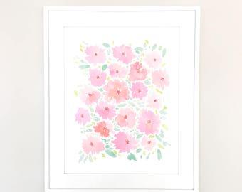 "SALE: Pink Watercolor Floral 11""x14"" Print by Louise Dean"