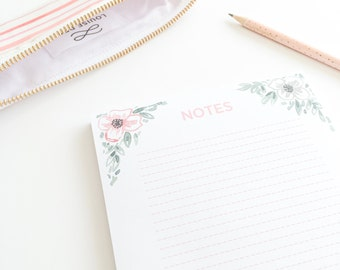 SALE: Gretta Pink Floral Notepad by Louise Dean