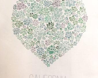 SALE: Watercolor Succulent California linen cotton blend tea towel