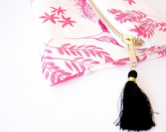 Large pink Rosaline cosmetic bag with tassel and zipper by Louise Dean