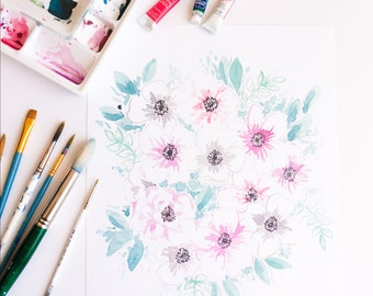 """SALE: Pink and Grey Anemone Watercolor Floral 11""""x14"""" Print by Louise Dean"""