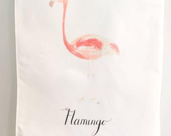 SALE: Watercolor Flamingo linen cotton blend tea towel