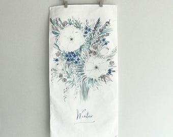 SALE: Winter Watercolor Floral Tea Towel Cotton / Linen Blend by Louise Dean