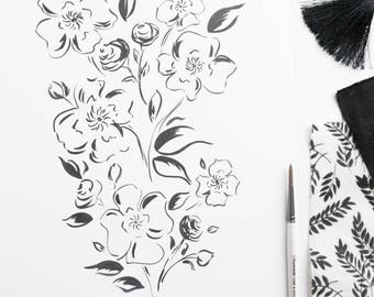 """SALE: Black and White Floral 11""""x14"""" Print by Louise Dean"""