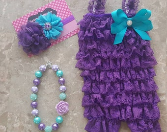 d14b4b34f23 Purple and Aqua Petti Lace Romper Headband and Necklace 3 piece set