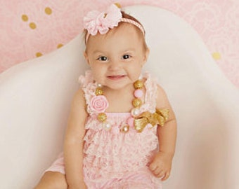 f2a1a3722b7 Light Pink Petti Lace Romper Headband and Necklace 3 piece set