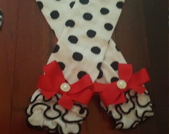 baby childrens toddler leg warmers polka dot christmas ruffle legs babylegs