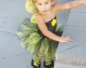 Complete Bumblebee Tutu Dress headband Wings Legwarmers complete Costume,smash cake outfit,Birthday, Halloween,photo prop,infant, baby,