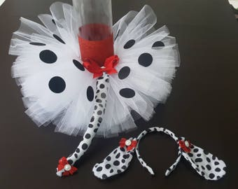 Dalmatian Tutu headband/ears and tail costume for infants toddlers girls Halloween costume birthday tutu set & Baby Girlsu0027 Costumes | Etsy