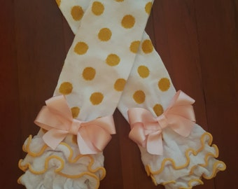 be5e312ec97 Ready to Ship White with Gold polka dot leg warmers with pink bows