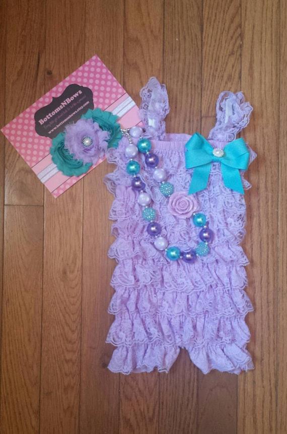 Lavender   Aqua Petti Lace Romper Headband and Necklace 3  7db146d40154