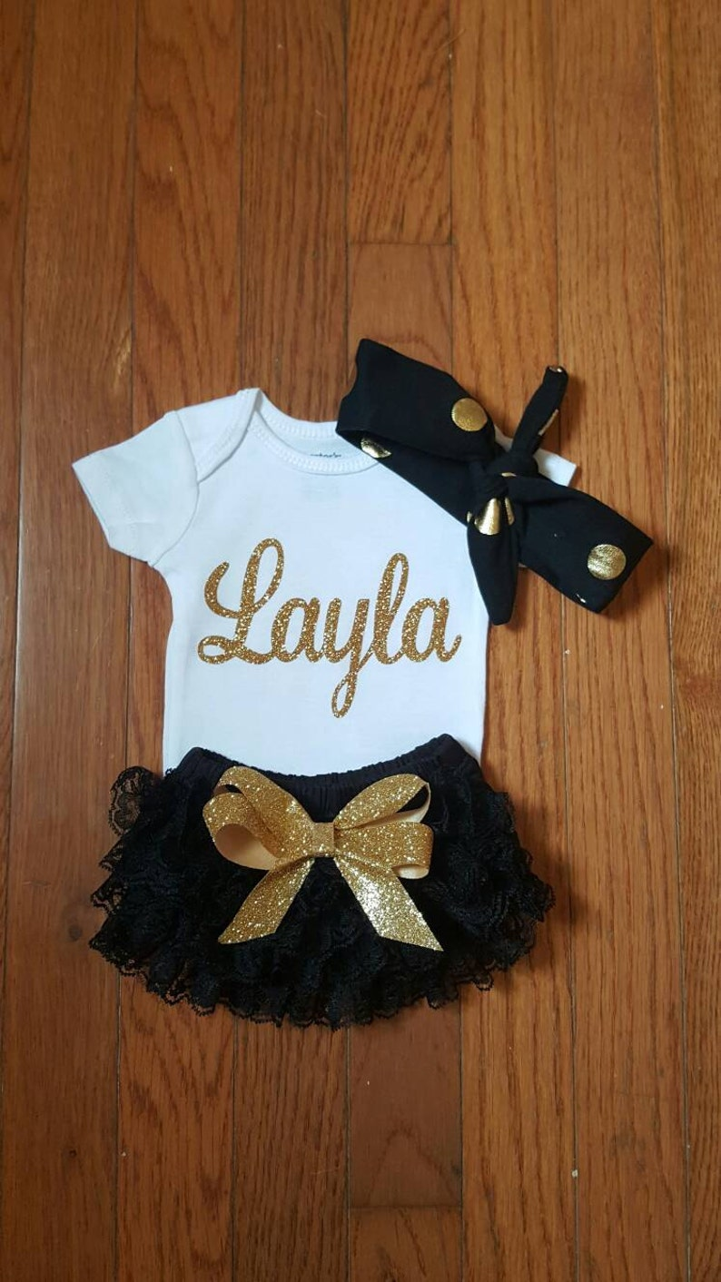 0783f8b1c Gold Glitter Vinyl Bling with personalized name Onesie black | Etsy