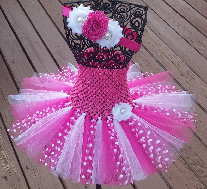 ad18e699c Pink White   Pink with White Dots Tutu Dressbaby tutu dress