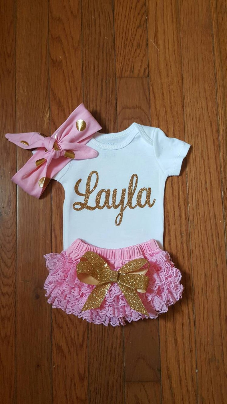 c8ca0abdb Gold Glitter Vinyl Bling with personalized name Onesie Lace | Etsy