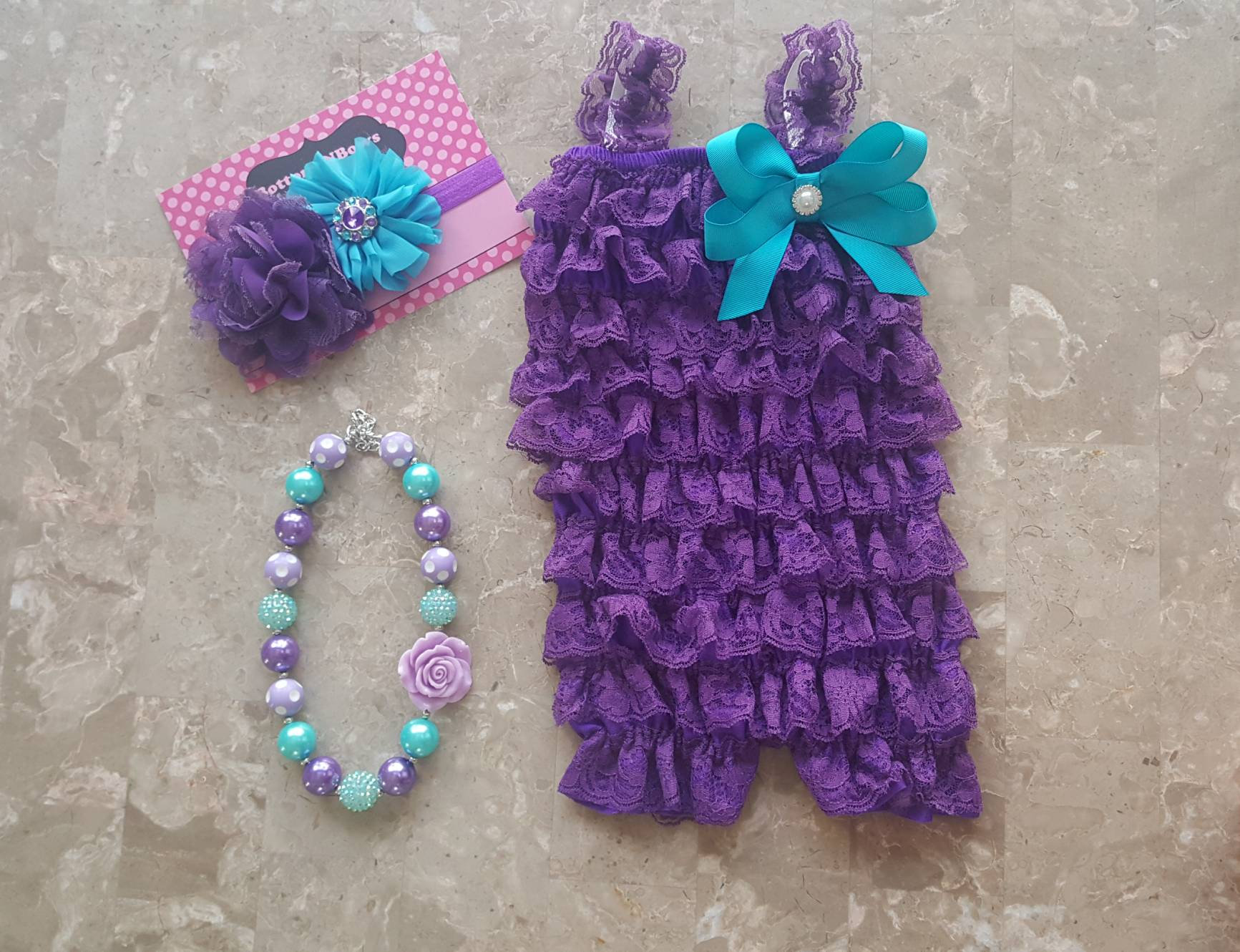 Purple and Aqua Petti Lace Romper Headband and Necklace 3  503a387d8102