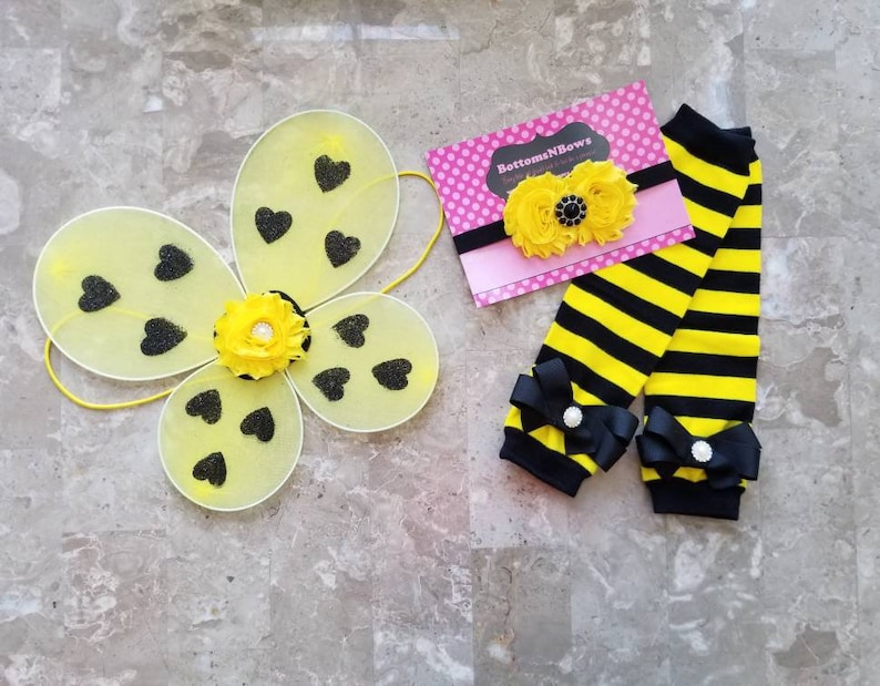 Ready to ship Bumblebee wings, leg warmer, and headband set for infant and  toddler girls for Halloween costume, birthday or, everyday wear
