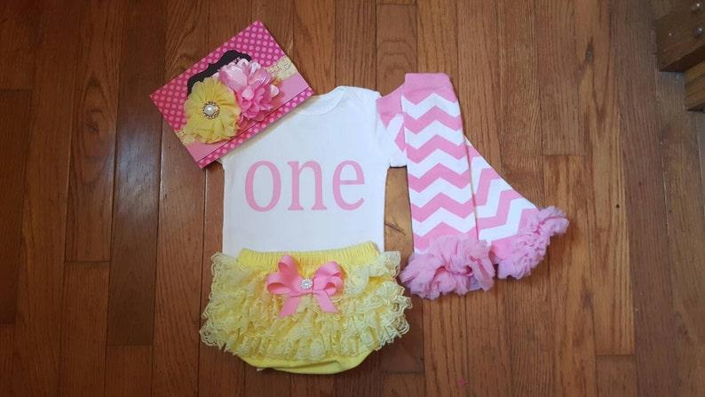 Yellow Lace Bloomers SALE Bubblegum Pink Vinyl  ONE bodysuit baby girl,1st Birthday,Cake Smash /& Headband Set Leg Warmers