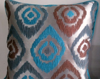 Decorative Throw Pillow Cover Polyester 18x18 Beige Teal Gray Brown Ikkat Style Motifs 45cmsx45 cms Accent Couch Sofa Pillows Cushion Cover