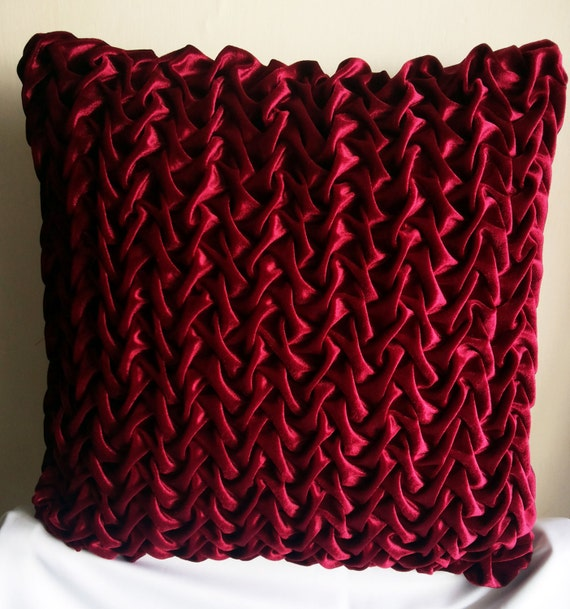 Velvet Pillow Cover 40x40 Decorative Pillow Red Maroon Velvet Etsy Cool Maroon Decorative Pillows
