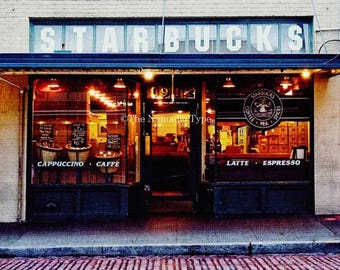 Starbucks Photo Seattle Photography Kitchen Decor Print Original Coffee Art Architectural Wall