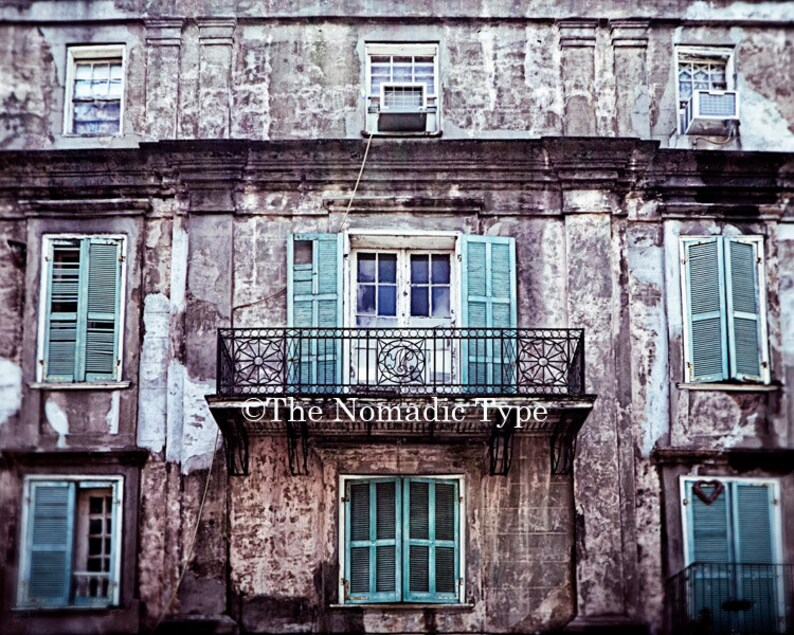New Orleans Decor Architecture Print New Orleans Wall Art Teal Etsy