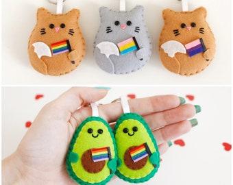 LGBTQ Flag Gay Keychain bisexual Avocado Cat Christmas ornament gay pride, lesbian queer LGBTQ gift pansexual keyring genderqueer pride
