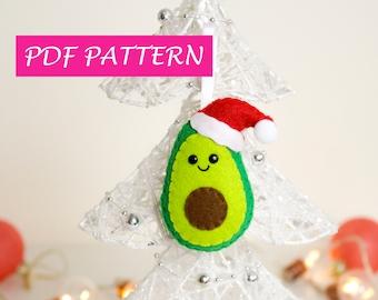 Avocado Pattern Felt Ornament Christmas felt PDF. Avocado Plush Sewing Pattern. Stuffed Toy. DIY Pattern. Felt Food. Christmas Gift Handmade