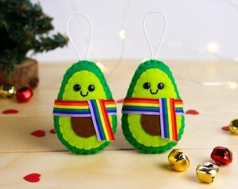 LGBT Ornament Avocado gay pride christmas decor, lesbian Gift for Him. gay Couple christmas Gifts, wedding lgbt gifts,