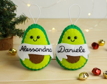 Avocado ornament personalized with name avocado lover gift baby first christmas ornament, guacamole vegan gift girlfriend Couples decoration