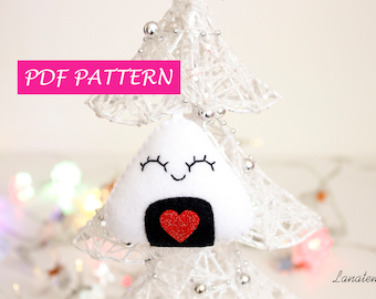 Sushi plush pattern DIY, felt christmas ornaments sewing pattern, party favors, instructions, sushi ornament, quick pattern, PDF pattern