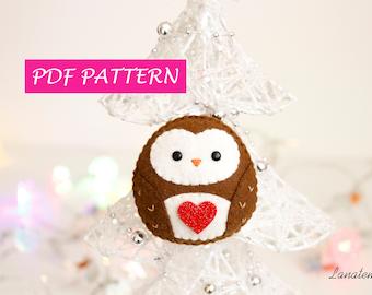 Felt ornament Pattern, Owl Christmas pattern, craft felt easy sewing pattern, woodland animal PDF pattern, DIY Christmas instant download