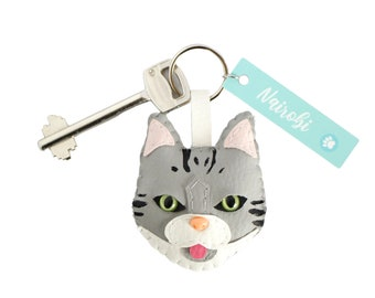 Cat kitty keychain, crazy cat lady, kawaii lucky themed cat gifts, loss of cat owner, siamese Scottish fold unique cat lover gift, memorial