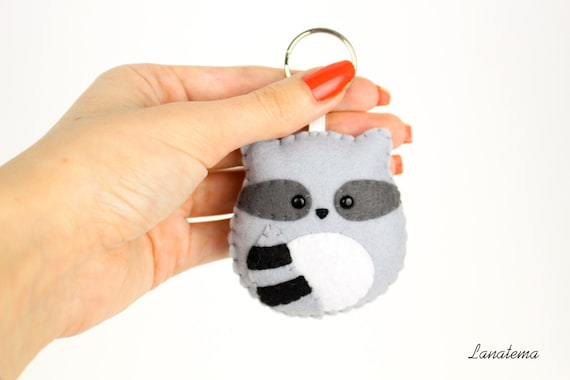 Felt Keychain Racoon Gifts Under 20 Backpack Keyring For