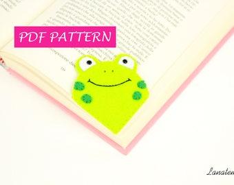 Bookmark pattern pdf bookmark, frog felt DIY easy sewing, craft, beginner, digital download printable, corner bookmark kids tutorial animal