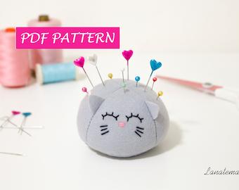 Felt pattern pincushion hand embroidery tutorial, digital file, seamstress, sew guide cat pin cushion easy tutorial cat plush sewing pattern