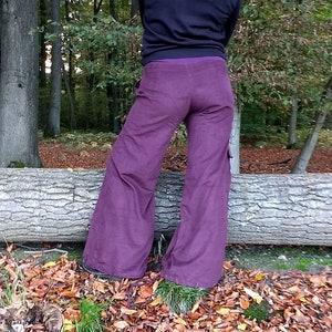Palazzo Pants Cuff Pants Cargo Pocket DArk Brown Corduroy Pants Boho Wide Leg Pants Drawstrings Harem Cuff Adjustable Comfy Great Fit Pants