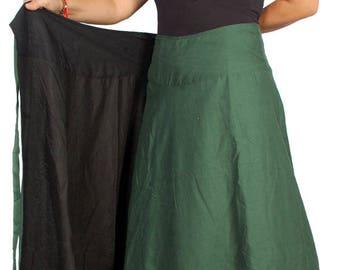 Wrap Maxi Reversible Skirt Cotton Long Skirt Boho Maxi Reversible Skirt Long Wrap Skirt Gypsy 2 Colors Option Skirt Wrap Cotton Skirt