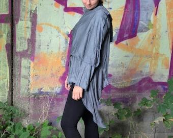Silver Gray Summer Boho Kimono Cardigan, Women Long Sleeve Bamboo Wrap Jacket, Boho Alternative Wrap Cardigan, Summer Coat Wrap around Schal