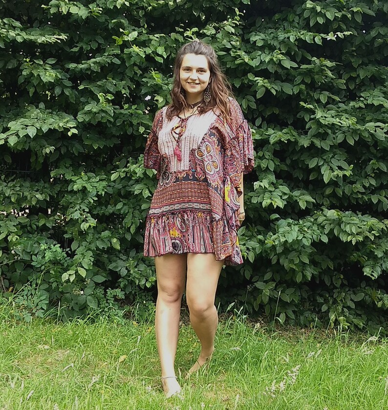 Boho Short Silk w Embroidery Dress w Frills Short Silky Tunic with Embroidery One Size Fits All Bohemian Summer Loose Fit Tunic w Tassles