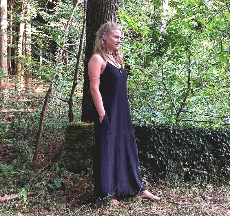 Boho Long Dress Maxi Summer Spaghetti String Black Dress Floor Length Pocket Dress Maxi Dress Bohemian Long dress XSSML XL