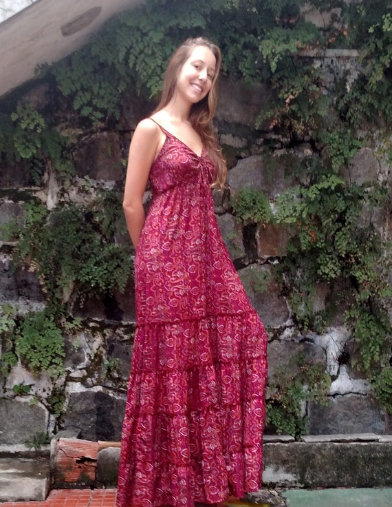 String Cut V XL Dress Floral Maroon Dress Spring Bohemian Maxi Maxi Maxi Spaghetti Length Flower Boho Long Maxi Long Long Summer Dress Dress Xw7xXPO4