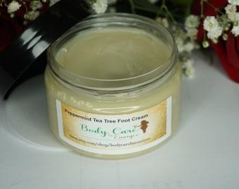Foot Cream Peppermint & Tea Tree - Organic Foot Care, Foot Cream, Shea Butter, Foot Care, Peppermint Foot Cream, Pedicure